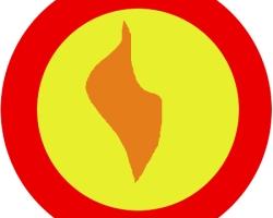 Orange flame badge